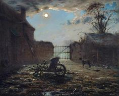 Jean-Francois Millet, Farmyard by Moonlight 1868 on ArtStack #jean-francois-millet #art