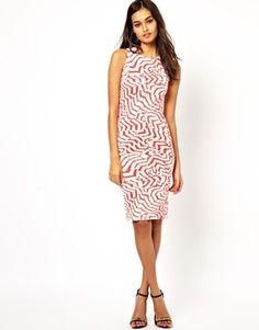 Club L Feather Print Midi Dress