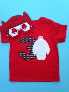 Baymax Birthday shirt or onesie, Baymax Shirt, Big Hero Six birthday shirt with matching mask, Big Hero 6 Party Favor by SarahJeanBoutique on Etsy