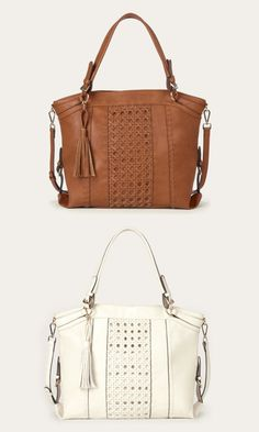 Roomy tan and ivory tote bags with gold-toned hardware, a woven panel, removable tassel and removable crossbody strap