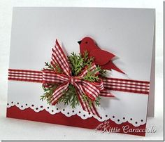 By Kittie Caracciolo. Uses Stampin' Up bird punch. Winter card. Not necessarily a Christmas card.
