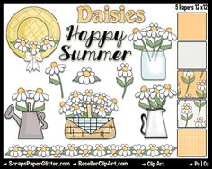 Lazy Daisies Clip Art - Commercial Use, Digital Image, Png, Clipart - Instant Download - BONUS Papers - Prim, Mason Jar, Primitive, Rustic by ResellerClipArt on Etsy
