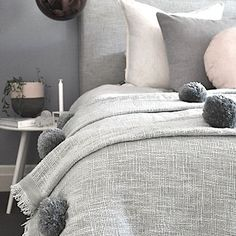 Just gave the bedroom a revamp with our new pale blue/grey pom pom blankets. LOVE!! #linkinprofile #pompoms