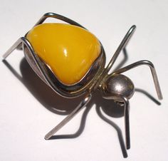 Large Vintage Sterling Silver Butterscotch Amber pin