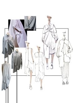 Fashion Sketchbook - fashion sketches + draping development for reinvented shirt dress designs // Henrietta Adams