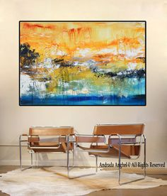 Original abstract giclée Print of painting blue and by BuyWallArt