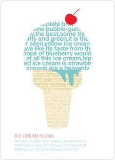 Type shaped as a ice cream cone. Using words describing ice cream.
