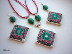 Kaleidoscope cane earrings and necklace