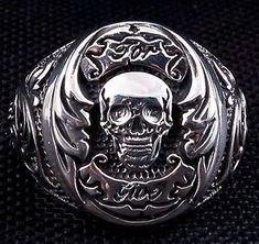 Skull Wedding Bands For Men | Tattoo Skull Mens Wedding Silver Rings