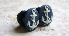 Anchor Cameo Plugs for Gauged Ears Sizes 1/2 inch, 00g, 0G, 2G, 4G , 6G, 4mm, 5mm, 6mm, 8mm, 10mm, 12.7mm, Also For Pierced Ears on Etsy, $24.99