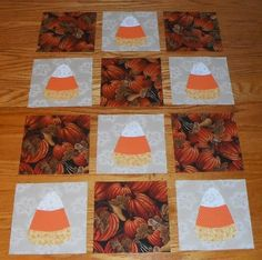 Set of 12 Fall Candy Corn and Pumpkin Quilt Top Blocks | eBay