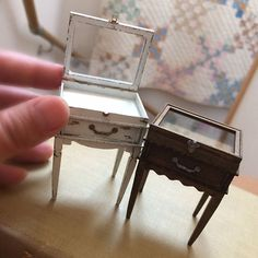 Miniature display cabinets in scale for dollhouse or shop display roombox Tiny Furniture, Barbie Furniture, Miniature Furniture, Dollhouse Furniture, Dollhouse Accessories, Doll Accessories, Miniature Houses, Miniature Dolls, Clay Miniatures