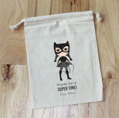 GIRL SUPERHERO    Personalized Favor Bags  Set of 10