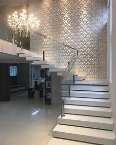 amazing modern stairs for entryway or foyer Staircase Wall Decor, House Staircase, Interior Staircase, Stair Decor, Home Stairs Design, Interior Design Living Room, House Front Design, Modern House Design, Modern Stairs