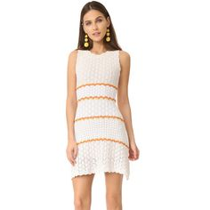 Ronny Kobo Caroline Knit Dress ($428) ❤ liked on Polyvore featuring dresses, no sleeve dress, scalloped dress, striped dresses, knit dress and scalloped stripes dress