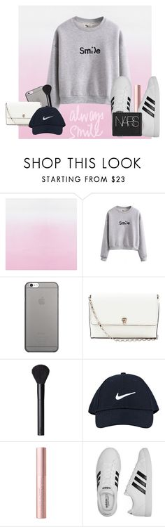 """""""always smile"""" by petalprada ❤ liked on Polyvore featuring Designers Guild, WithChic, Native Union, Valextra, NARS Cosmetics, NIKE and adidas"""