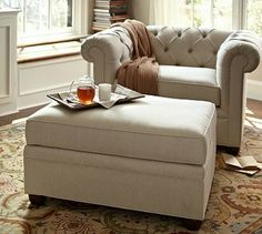 Chesterfield Upholstered Ottoman - Pottery Barn