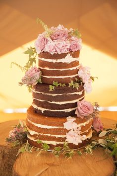 Naked Cake Layer Sponge Flowers Victoria Pink Rustic Tipi Woodland Wedding http://kerryannduffy.com/