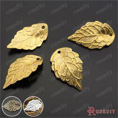 (29377)30PCS 17*10MM Gold Color Plated Brass Tree leaf Charms Diy Jewelry Findings Jewelry Accessories wholesale