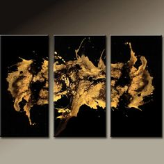 3PC Abstract Art Huge Custom Made 72x48 Metallic Gold Art on Canvas Ready to Hang Modern Contemporary Painting by Destiny Womack - dWo - on Wanelo