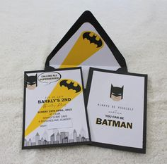 Modern Batman Birthday Party for boy in colors yellow and black. Party stationery used includes Batman invitation and envelope liner and water labels.