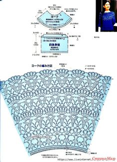 Women's Crochet Top Pattern PDF Japanese Pattern with Charts Ladies Jumper Pullover Yoke Sweater Dia Crochet Cape, Crochet Skirts, Crochet Shawl, Crochet Clothes, Crochet Stitches Patterns, Crochet Designs, Knitting Patterns, Diy Crafts Knitting, Diy Crafts Crochet