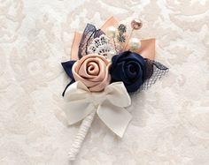 Gold Ivory Wedding, Blue And Blush Wedding, Corsage Wedding, Wedding Bouquets, Wedding Flowers, Corsage And Boutonniere, Wedding Boutonniere, Blue Ivory, Navy Blue