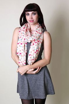 Women's Pretty Colorful Rainbow Polka Dots Scarf / Shawl / Wrap // Trendy Fashion Scarves. Unique Gift Ideas. For Her.
