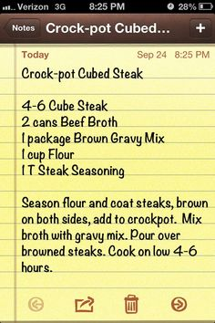 Crockpot cubed steak/ I have added onions or fresh sliced mushrooms c water no broth to 1 pack of gravy mix w steak sauce. I only used 2 cubed stakes floured with black pepper and parsley. I used a mini crock pot. works very well :) Crock Pot Food, Crockpot Dishes, Crock Pot Slow Cooker, Beef Dishes, Slow Cooker Recipes, Food Dishes, Crockpot Recipes, Cooking Recipes, Crock Pots