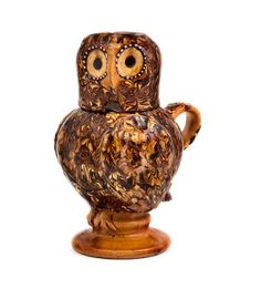 17thC slipware owl, Staffordshire.  On display at the Potteries Museum, Stoke-on-Trent.