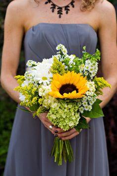 Sunflower and wildflower bouquet