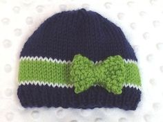 Seahawks Baby Hat with Bow - Seahawks Baby Girl Hat - Seahawks Newborn Hat…