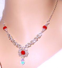 Rojo y plata bizantino romanov chainmaille collar por NezDesigns