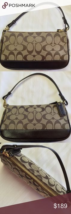 "🎀Coach Sig LT/Dk Brown Cloth/Leather 🎀Coach Signature Brown/Dk Brown Cloth & Leather Wristlet. W=9"", H=5.25"", Handel Drop 6"".   We're not Experts nor Jewelers. All Items are Pre-loved, Pre-Worn, Vintage, Antique, or new. We examined & researched Ea item, We are not experts in any item we sell (Jewelry, Art, Designers, etc.), we may not catch every defect or deficiency, markings, title, or condition. Info is based on research, previous owner, and markings. Coach Bags Mini Bags"