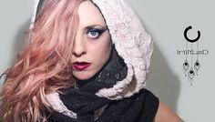 Hood Scarf faux fur pink