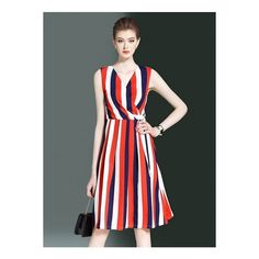 V Neck High Waist Sleeveless Striped Midi Dress (1,460 PHP) ❤ liked on Polyvore featuring dresses, red striped dress, stripe dresses, red off the shoulder dress, red midi dress and striped dresses