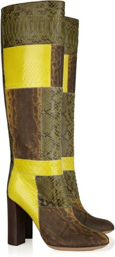 Patchwork python knee boots by Chloé High Heel Boots, Knee Boots, Heeled Boots, Bootie Boots, Women's Boots, Chloe Shoes, Stylish Boots, Designer Boots, Boots For Sale