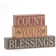 Count Your Blessings Word Block (6.61 AUD) ❤ liked on Polyvore featuring home, home decor, words, quotes, decor, filler, phrase, text and saying