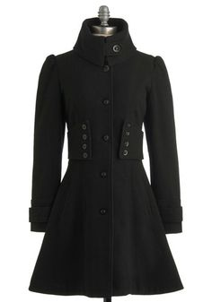 The Importance of Being Onyx Coat - Solid, Buttons, Long Sleeve, Black, 4, Party, Work, Casual, French / Victorian, Winter, Long