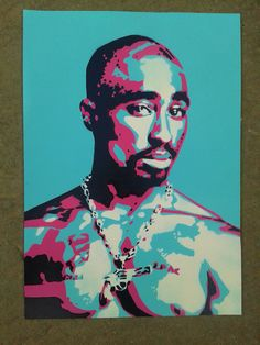 2PAC painting on cardstencilsspray by AbstractGraffitiShop on Etsy, $50.00