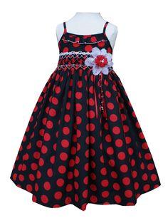 Girls hand smocked black and red polka-dot summer dress $46