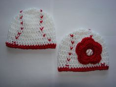 Twins Crochet baby girl boy  set of 2 baseball  hat beanie  red white sports with flower handmaded 0-4 months shower gift photo prop. $22.50, via Etsy.