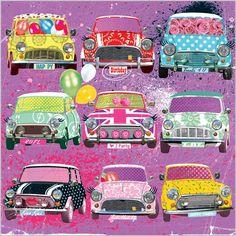 Everyday Ranges » M1220 » Retro Rally - Clare Maddicott Publications - Greeting cards, gift wrap & stationery Red Mini Cooper, Mini Copper, Mini Countryman, Mini One, Mini Things, Car Wrap, Classic Mini, Retro Art, Art Music