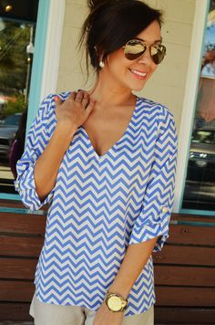 EVERLY: Spring Back The Chevron: Periwinkle...dying for this shirt!!