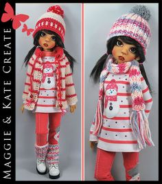 """OOAK ** WINTER ** Outfit for Kaye Wiggs 18"""" MSD BJD by Maggie & Kate Create"""
