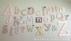 Nursery Alphabet Wall - A Baby Shower Activity - Meadow Lake Road www.meadowlakeroad.com