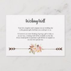 Bohemian Wishing Well Card with Watercolor Flowers - rustic wedding marriage love cyo How To Dress For A Wedding, Our Wedding Day, Wedding Vows, Perfect Wedding, Wedding Cards, Wedding Gifts, Destination Wedding, Dream Wedding, Wedding Things