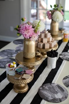 Wooden Block Decorating Station at Baby Shower - such a fab idea!  Include pre-cut squares of card stock for guests to decorate baby blocks.