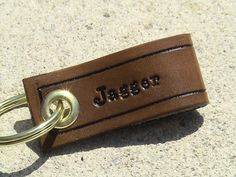 SMIDGE  Personalized Leather Keychain  another by leathermadenice, $8.00