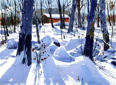 On very cold and sunny days in the winter (if you factor in the wind today it's in Montreal!) the shadows on the snow are brilliant and sharp. I can't think of one tube of blue pa… Watercolor Trees, Watercolor Sketch, Watercolor Artists, Watercolor Techniques, Watercolor Landscape, Watercolour Painting, Landscape Art, Landscape Paintings, Watercolours